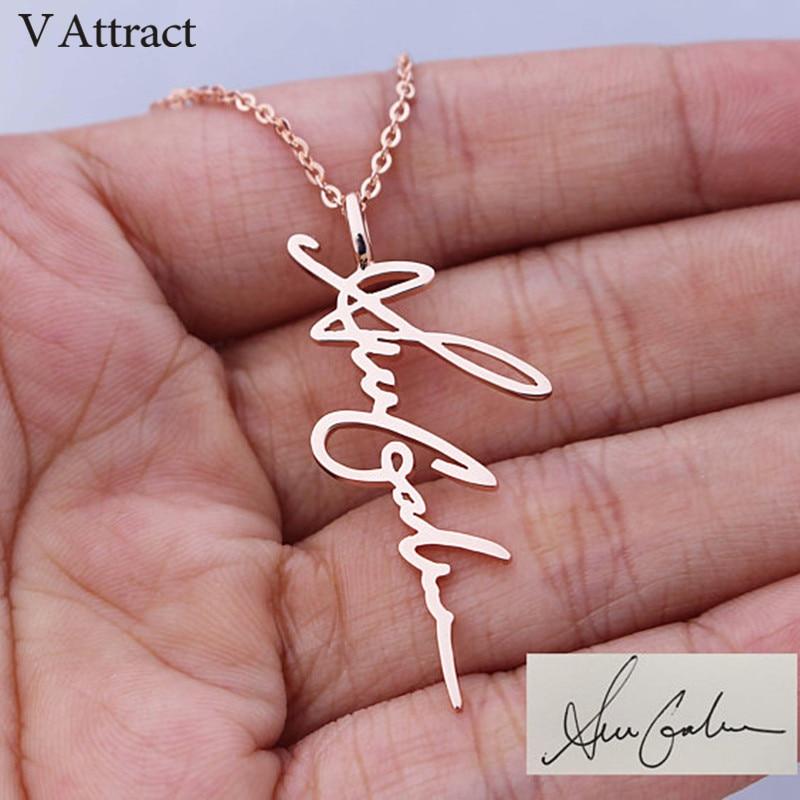 V Attract Handwriting Jewelry Custom Signature Pendant Colli