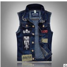 Men Pactwork Cowboy Vest Coats Single Breasted Turn Down Collar Plus Size Spring Autumn Jean Denim Waistcoat K94