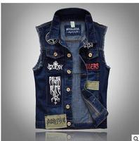 Men Pactwork Cowboy Vest Coats Single Breasted Turn Down Collar Plus Size Spring Autumn Jean Vest Plus Size Denim Waistcoat K94