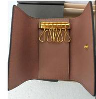 woxk New real leather fashion wallet keys wallet 6 buckle with boxes free shipping