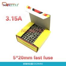 100pcs/box 5*20mm 3.15A 250V Fast fuse 5*20 F3.15A 3150mA 250V Glass Fuse 5mm*20mm New and original
