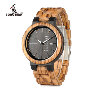 Image 2 - BOBO BIRD WO26 Zebra Wood Watch for Men with Week Display Date Quartz Watches Classic Two tone Wooden Drop Shipping