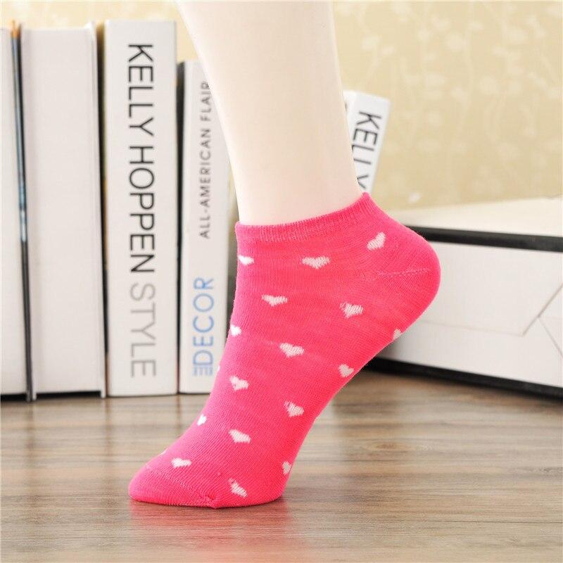 Sweet Pink Leisure Cotton Geometric Short Sock Heartshaped Breathable Comfortable Women Fshion Short Sock