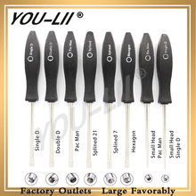 YOULII 8Pcs Adjustment Tool Pac Man/Small Man/Single D/Small Single D/Double D/Hexagon/7Teeth /21Teeth Splined Screwdriver