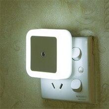 """מיני LED לילה אור חיישן בקרת האיחוד האירופי/ארה""""ב/בריטניה תקע מרובע חדר שינה קיר מנורת עבור תינוק ילד מתנה רומנטי צבעוני אורות דקור"""