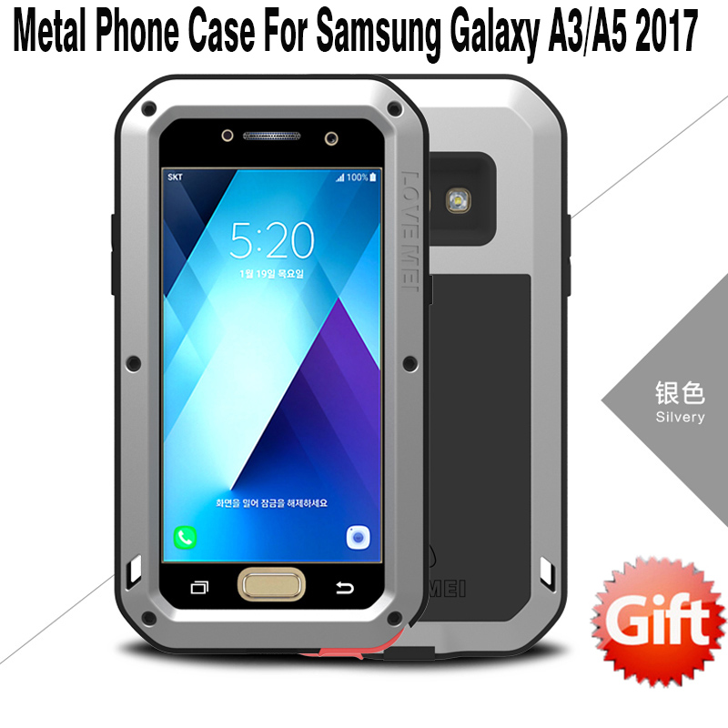 For Samsung A5 2017 Case LOVE MEI Luxury Aluminum Metal Armor Cover Shockproof Gorilla Glass For