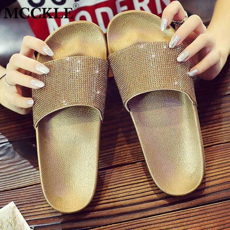 MCCKLE Women Summer Casual Flat Platform Beach Slippers Plus Size Female Slip On Rhinestone Outside Slides Shoes Leisure