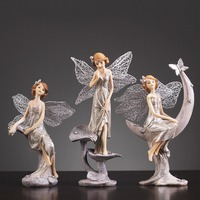 Nordic Lovely Angel Figurines Miniatures Decoration Crafts Resin Romantic Fairy Garden Gifts Home Decoration Accessories Modern