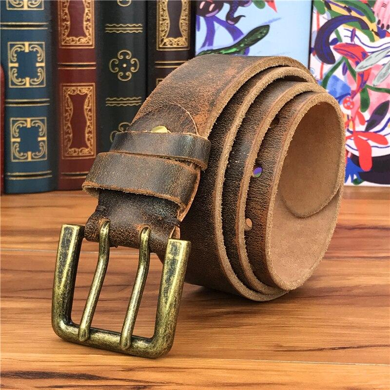Doble Pin Vintage cinturón hebilla Super ancho 4,2 CM cuero genuino hombres cinturón lujo Ceinture Homme Jeans Cinturon Mujer MBT0018 - 2