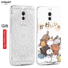 Meizu M6 Note 6 Case Vpower 3D Relief Soft Silicone Transparent Cartoon Phone Cases For Meizu M6 Note Back Cover With Glass Film