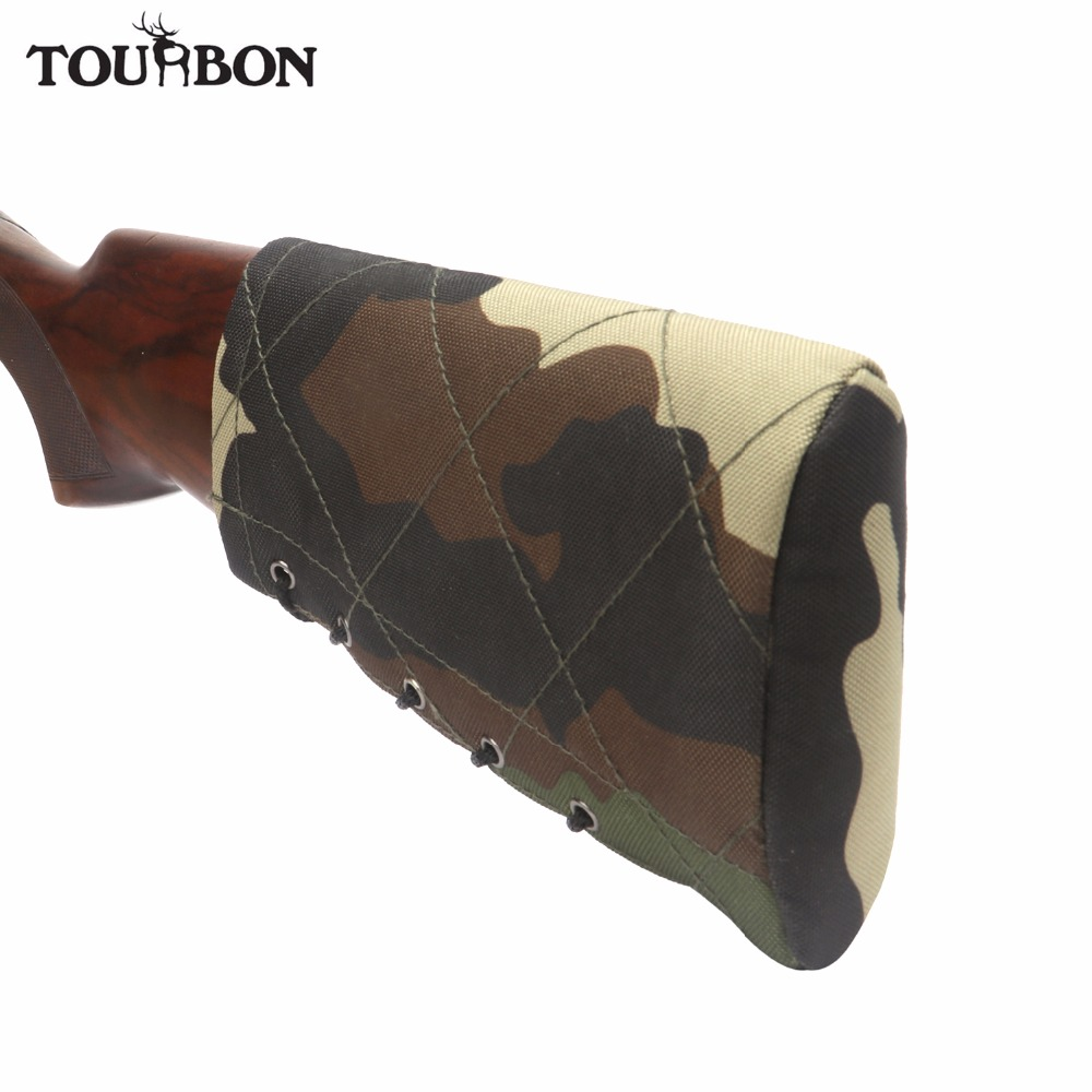 Tourbon Hunting Recoil Pad Non-slip Rifle Shotgun Buttstock Cheek Rest Sponge Protector Nylon Adjustable Gun Accessories tourbon tactical rifle gun sling with swivels shotgun carrying shoulder strap black genuine leather belt length adjustable