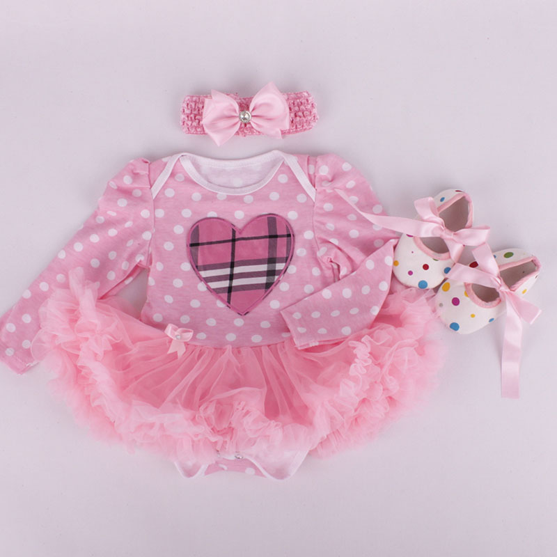 3PCs per Set Infant Tulle Romper Polka Dots Love Baby Girls Long Sleeves Tutu Dress Headband Shoes for 0-12months Free Shipping