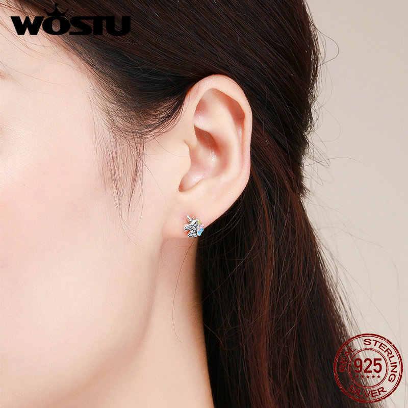 WOSTU 925 スターリングシルバー眩しいユニコーン Licorne 女性ガールかわいいシルバークリア Cz ジュエリーパーティーギフト CQE426