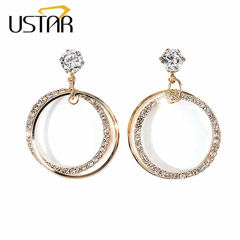 USTAR Crystals Round Stud Earring for Women Cubic Zirconia Fashion Jewelry wedding Earrings female Ear brincos gifts accessories