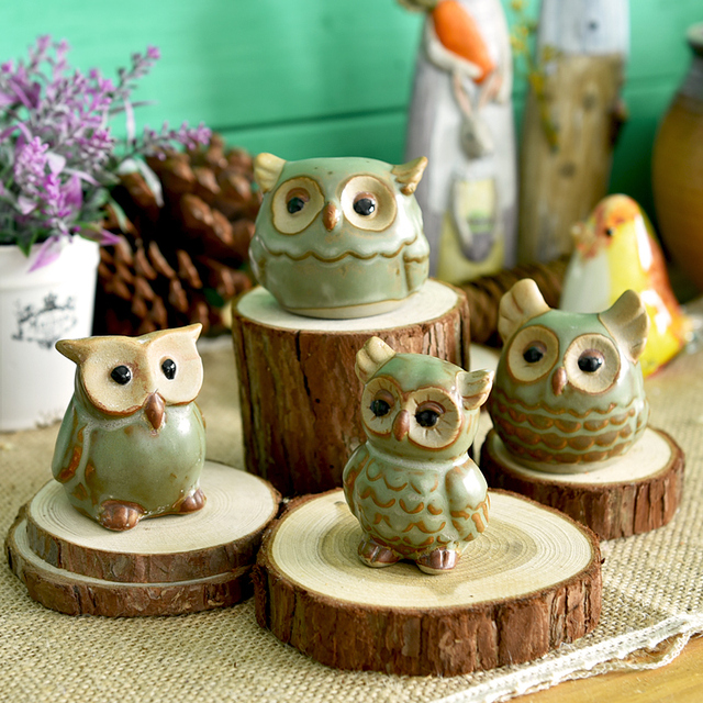 1 Piece Home Decor Owl Figure Christmas Office Desk Room Decoration