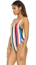 Women Bodysuit Sexy One Piece Rainbow Striped