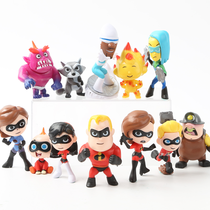 12pcs/set Disney Action Figure The Incredibles 2 Movie Super Man Family Cute Doll Children Kids Toys Collection Birthday Gift cute skull man figure doll cell phone straps grey 12 pack