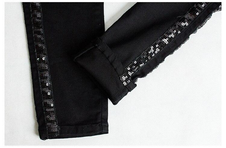 Sequin Side Stripe Black Skinny Jeans Women High Street England Slim Push Up Denim Pants Mujer Fashion Spliced Vaqueros Mujer Jeans Women Bottom ! Plus Size Women's Clothing & Accessories