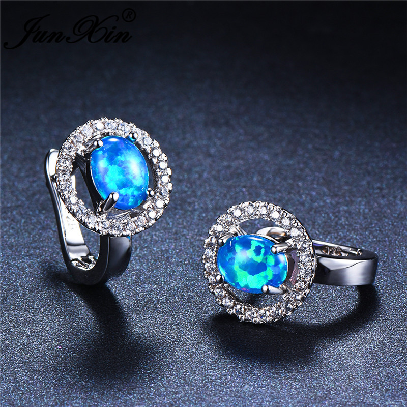 Female Oval Cut Rainbow Blue Fire Opal Earrings White Gold Vintage Zircon Engagement Wedding Hoop Earrings For Women Ear Jewelry