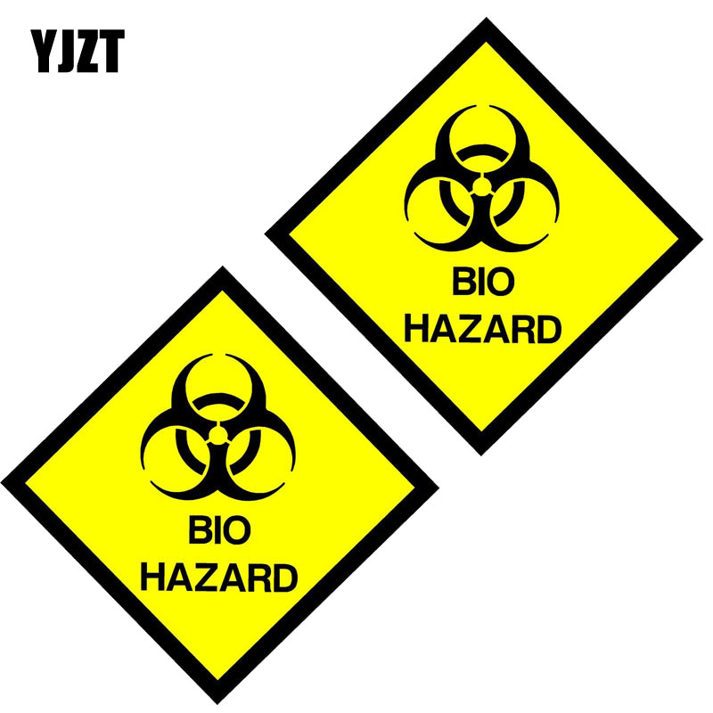 YJZT 10CM*10CM 2X Car Sticker BIO HAZARD Sign Warning Mark Lnterest Reflective Personality Decal C1-7560