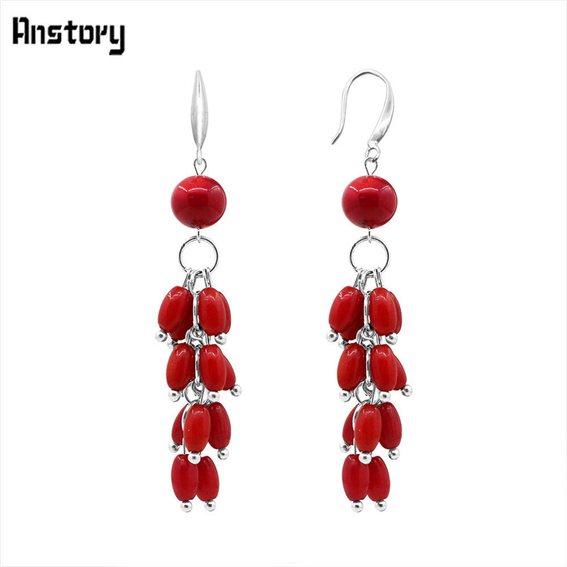 Fashion Jewelry Vintage Look Antique Silver Plated Natural Red Coral Dangle Pendant Earrings TE204