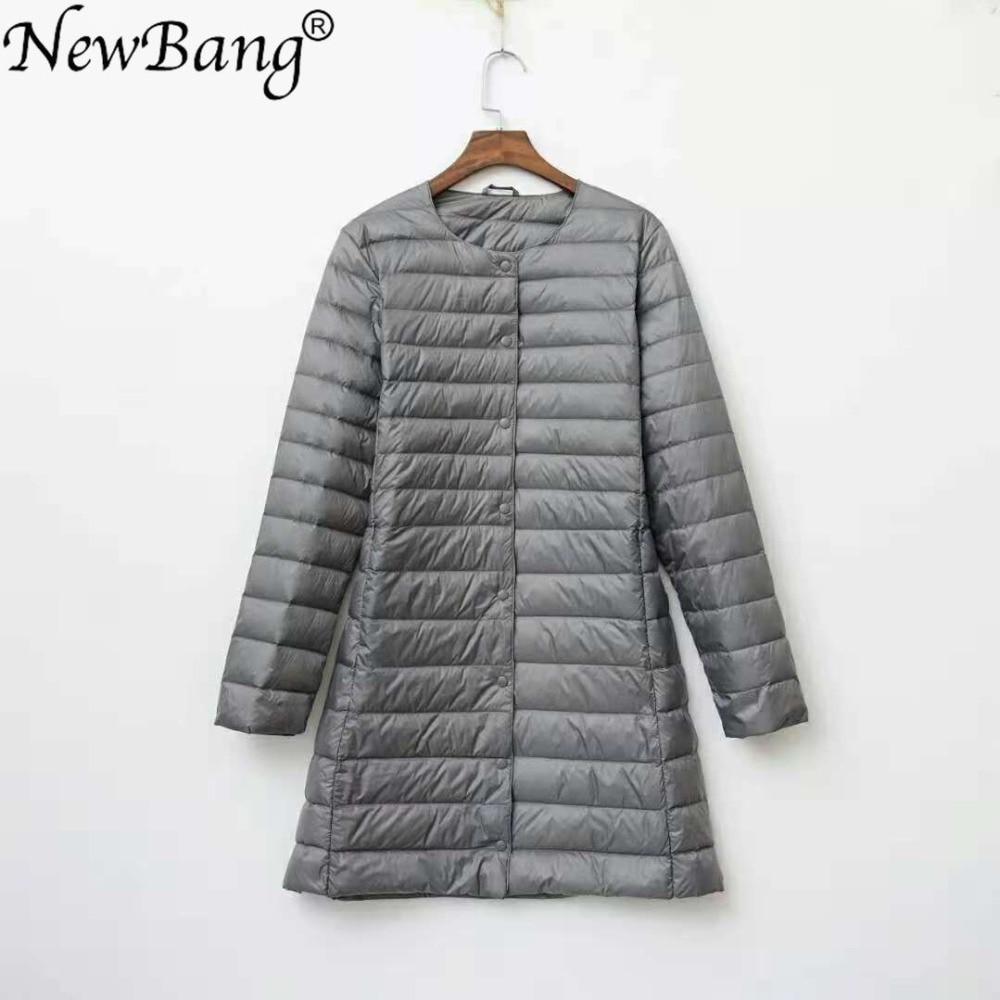 NewBang Brand ladies Coats Ultra Light Down jacket Women Long Duck Down Jacket Female Lightweight Warm