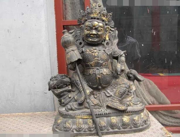 20 Wielki Tybet Buddyzm brąz miedź Vaishravana Ride on Foo Dog Statua Buddy Miedzi ogród dekoracji