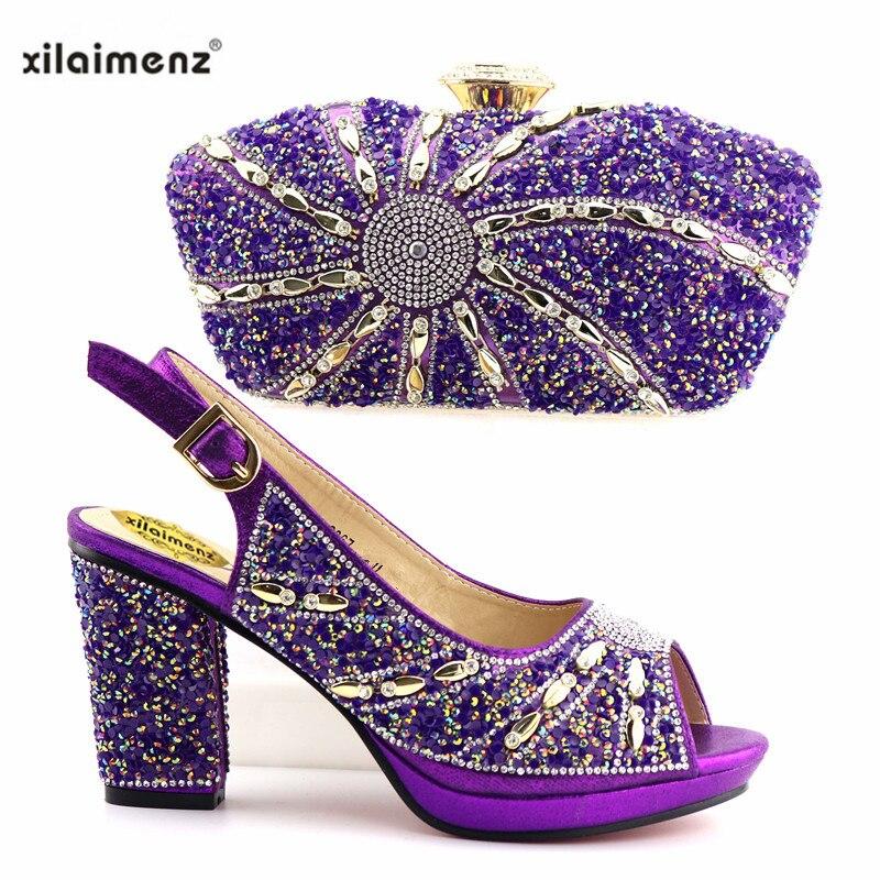 Diamantes Con Decorado A 2019 Bolso Nigeria purple Diseño Y Azul De Bolsos Mujer Rojo Zapatos Black blue Italiano Juego Color orange Imitación Maduros ZaqFwT