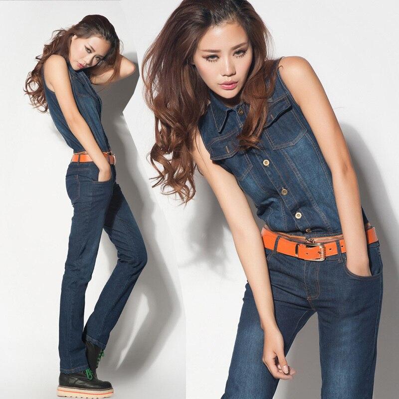wholesale 2016 new women bib pants blue cotton denim jumpsuit ...