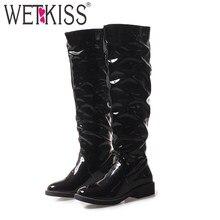 21793d1a66649b WETKISS genou haute femmes bottes bout rond Rivet chaussures brevet Pu bas talons  femme botte mode équitation chaussures femmes .