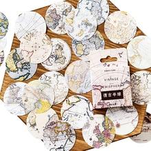 20パック/ロットヴィンテージマップスタイル半球装飾紙粘着ステッカーdiy日記ステッカーブックマークカード卸売