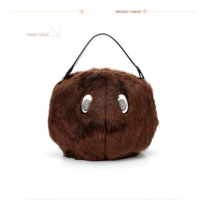 ФОТО Trong New Arrival Fashion Winter Rabbit Fur Bag Animal Cartoon Bear Round Tote Women's Lady's Fun Handbag