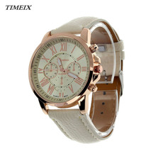 2017 New Women's Geneva Roman Numerals Faux Leather Analog Quartz Watch High Quality Free Shipping,Nov 4*40