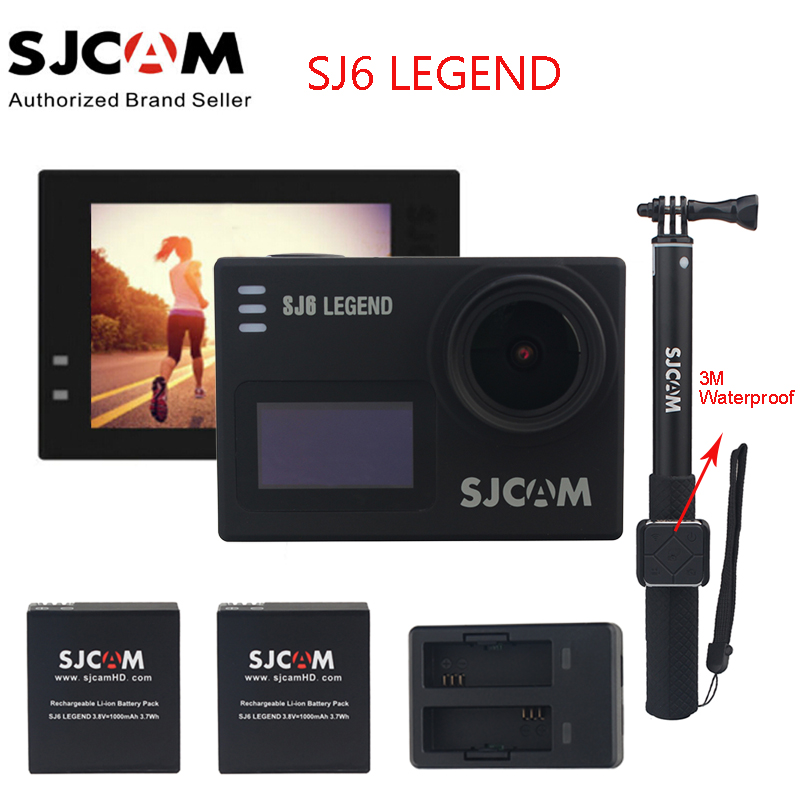 Original SJCAM SJ6 LEGEND 4K 2.0 Touch Screen Sports Action Camera Sj DVR+2 Battery+Dual Charger+3M Waterproof Remote Monopod original sjcam m20 wifi 4k 24fps 30m waterproof sports action camera sj cam dvr 2 extra battery dual charger remote monopod