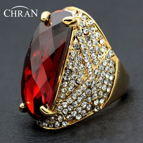 Chran New Luxury Red Crystal Vintage Ring Rose Gold Color Wedding Jewelry Accessories Best Party Gifts Free Shipping DFDR0050