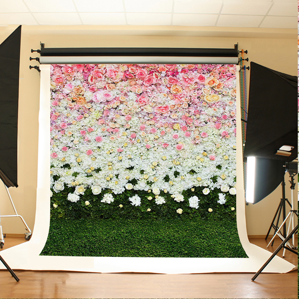 Wedding Photography Background White Pink Flowers Photo Booth Backdrops Green Meadow Wedding Background for Photographic Studio 200 300cm backgrounds for photo studio photography backdrops white green the open air terrace flowers tree for wedding