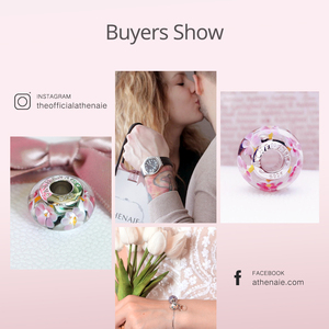 Image 5 - ATHENAIE Genuine Murano Glass 925 Silver Core Flower Garden Charms Bead Fit European Bracelets Necklace For Women DIY Jewelry