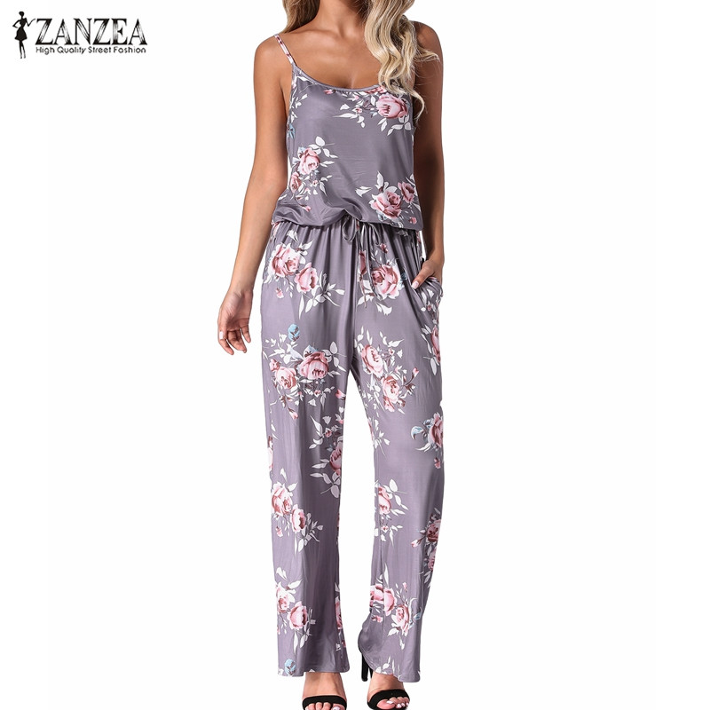 2020 Summer Women Sexy Backless Rompers Jumpsuits Casual Straight Floral Print Long Wide Leg Pants Playsuits Pockets Bodysuits