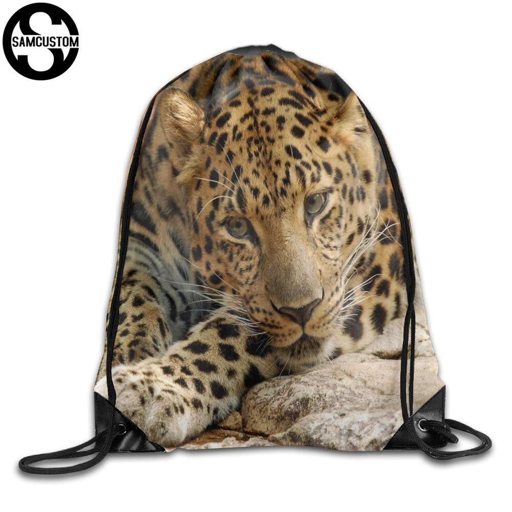 SAMCUSTOM leopard 3D Print Shoulders Bag Fabric Backpack men and women Port Drawstring Travel Shoes Dust Storage Bags leopard flame 3d print pullover hoodie
