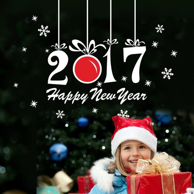 Наклейки Новый Год 2017 С Рождеством Христовым Дома Стикера Стены Витрины Наклейки Декор u61017