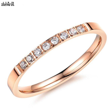 Crystals From Swarovski Charm CZ Ring Rose Gold Color Stainless steel Engagement Ring 2017 Bijoux Women Wedding jewelry(China)