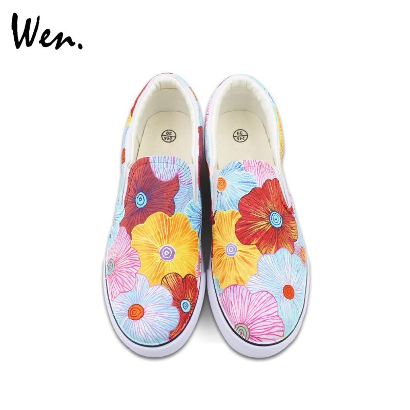 Prix pour Wen D'origine Coloré Fleurs Floral Peint À La Main Chaussures pour Homme Femme Glissement Sur Des Espadrilles De Toile Présente Cadeaux