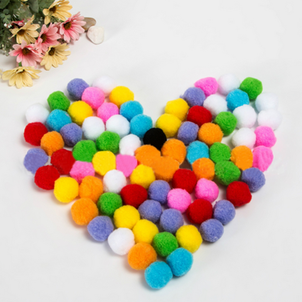 Kids 10/15mm Multi-function Mini Colorful Soft Fluffy Pompoms Pom Poms Fur Ball Montessori Handmade DIY Sewing Craft Decor Toy