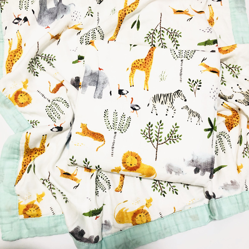 Animal Quilt Four Layer Bamboo Baby Muslin Blanket  Karitree Swaddle Better Than Anais Baby/bamboo Blanket Infant Wrap