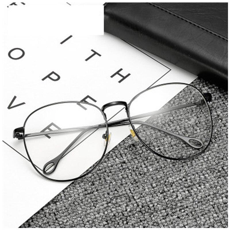 b416547d10080 Fashion Women Oversized Square Metal Black Eyeglasses frame glasses Female  temple transparent glasses men nerd Retro eyewear
