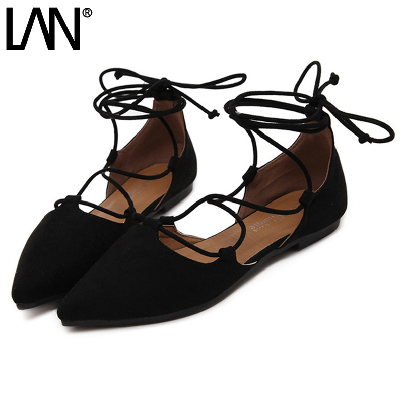 Fashion 2017 Spring Summer Women Ballerina Flats Pointed Toe Women Flats Ankle Strap Casual ladies Loafers Shoes size 35-42 2016 new women s fashion shoes spring summer style casual flats lace up pointed toe leather plus size 35 41 loafers for girls