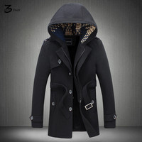 2017 Fashion Male Winter Long Slim Fit Leisure Single Breasted Trench Coat Male Upscale Hooded Fashion
