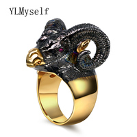 2019 Punk New Animal finger ring Black Trendy Jewelry for party Goat Design Large cool Rings for women top sale jewelries