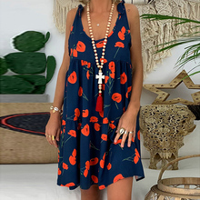 Women Dress Print Sexy Sleeveless O Neck Bandage Knot Strap Casual Summer Dress Fashion Women Backless Beach Dress vestidos D40 недорого