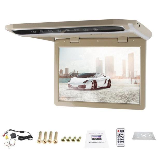 Venta caliente 12.1 pulgadas HDMI USB SD del FM Del Coche Delgado 1080 P Coche Techo de montaje/baje/coche Techo Monitor Ancho/Over head/Gota Pantalla LCD